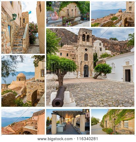 Collage of traditional stone houses and sights