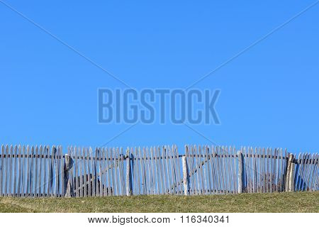Rustic Wooden Fence Around Cows And Clear Blue Sky. Beautiful Sunny Autumn Mountain View With Rustic