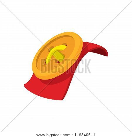 Red fabric texture and sewn button cartoon icon
