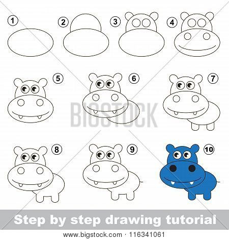 How to draw a Cute Hippo