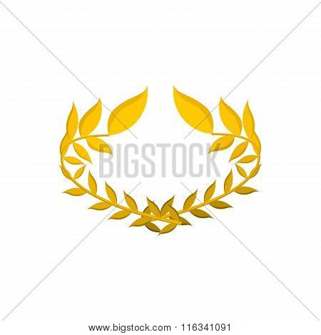 Gold laurel wreath cartoon icon