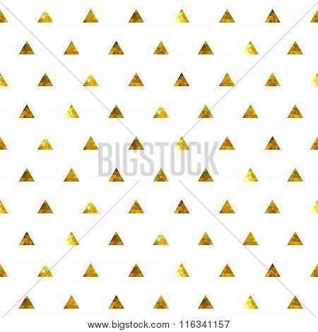 Seamless polka dot triangles golden pattern.