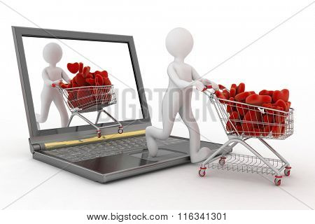 3d persons pushing a trolleys with red hearts out of laptop. Rendered on a white background.