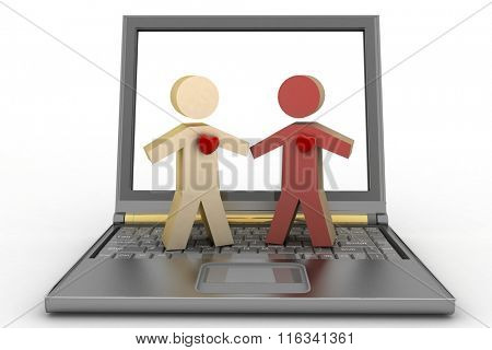 Couple with heart on their chest on laptop