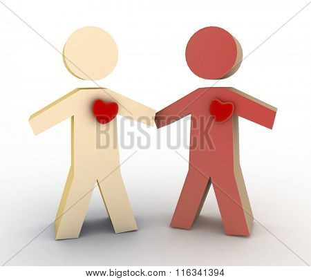 3d illustration of boy and girl with heart on their chest