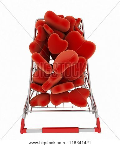 Supermarket trolley full of red hearts. 3d illustration view from above