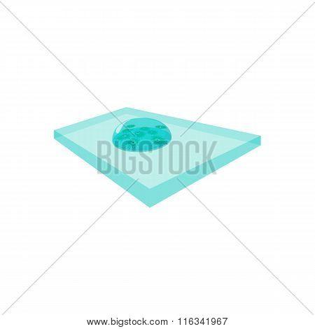 Bacteria on the laboratory glass cartoon icon