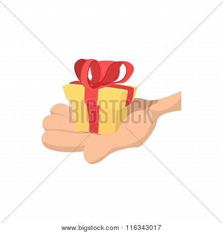 Hand with gift cartoon icon