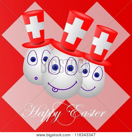 Festive Card Happy Easter For Switzerland