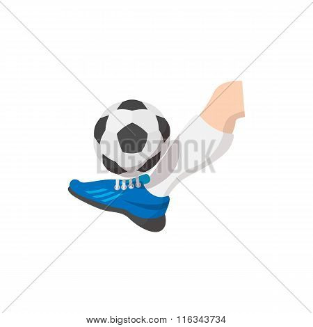 Leg kicks the ball cartoon icon