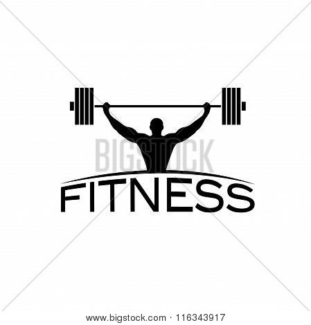 Bodybuilder Fitness Model With Barbell Silhouette Vector Design Template