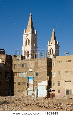 Coptic Cathedral and demolition, Luxor
