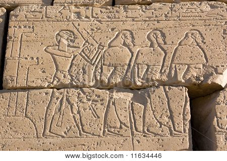 Ancient Egyptians capturing Hittites, Ramesseum, Egypt