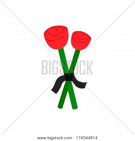 Two red roses and mourning ribbon isometric icon