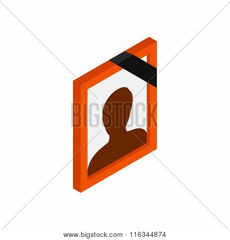 Frame with mourning ribbon isometric 3d icon