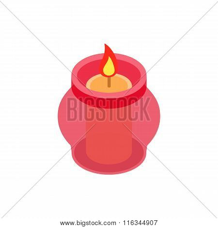Candle in a candlestick isometric 3d icon