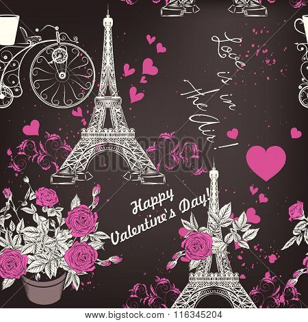 Beautiful Seamless Vector  Pattern With Eifel Tower And Roses