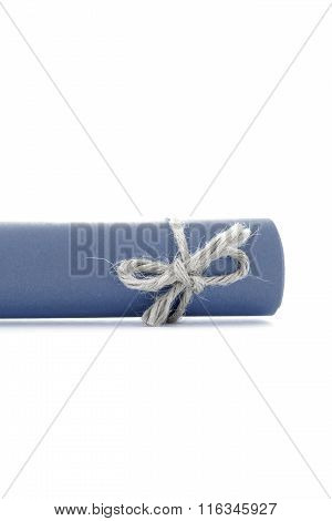 Handmade Natural Rope Bow Tied On Blue Letter Scroll Isolated