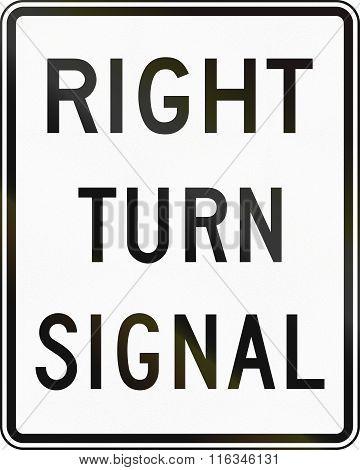 United States Mutcd Regulatory Road Sign - Right Turn Signal