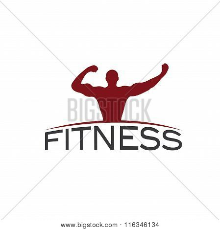 Bodybuilder Fitness Model Silhouette Vector Design Template