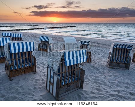 Beach Chairs On The Baltic Sea Coast