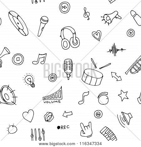 Seamless pattern Music doodles