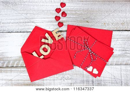 Holiday envelopes with Love and hearts