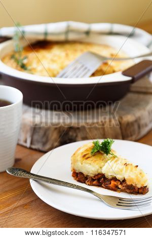 casserole with minced meat and mashed potatoes
