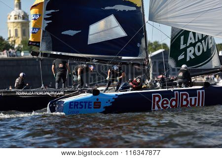 ST. PETERSBURG, RUSSIA - AUGUST 20, 2015: Catamaran of Red Bull Sailing Team of Austria during the 1st day of St. Petersburg stage of Extreme Sailing Series. The team won the day with 58 points