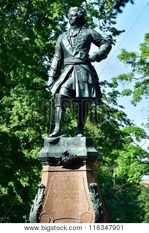 KRONSTADT, RUSSIA - JUNE 28, 2015: Monument to Peter the Great in Petrovsky park. The monument designed by Theodore-Joseph-Napoleon Jacques and erected in 1841