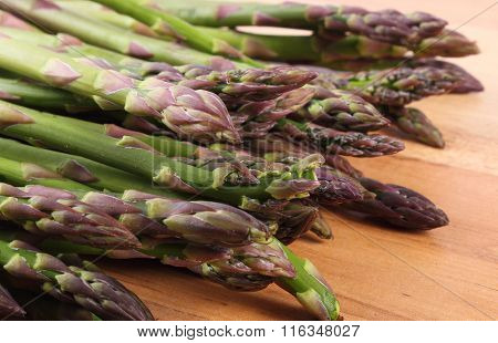 Green Asparagus On Wooden Surface, Healthy Eating