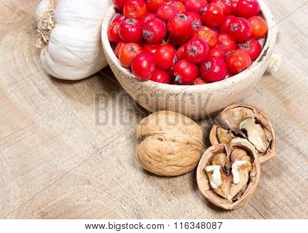 Fresh Fruit Of Hawthorn, Garlic And Walnuts. The Concept Of Alternative Medicine.