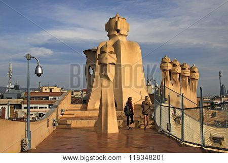 Barcelona, Catalonia, Spain - December 13, 2011: Terrace Of The Casa Mila Or La Pedrera Building Wit
