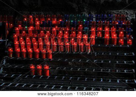 Montserrat, Spain - August 28, 2012: Candles In The Benedictine Abbey Santa Maria De Montserrat In M