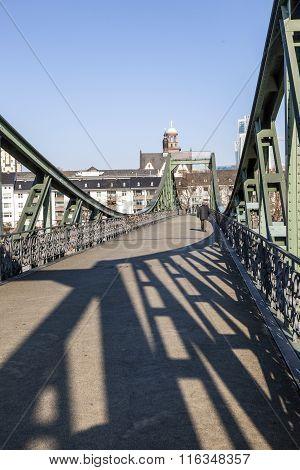 famous Eiserner steg at river Main in Frankfurt