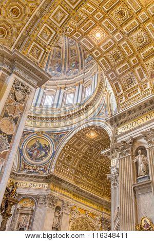 Vatican - September 11, 2015: Inside the St. Peter's Basilica in Vatican.