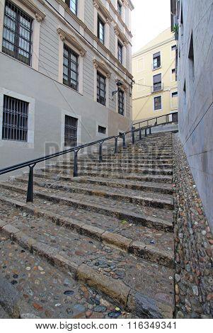 Stairs In Jewish Quarter In Girona. Catalonia. Spain