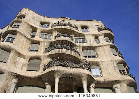 Barcelona, Catalonia, Spain - December 13, 2011:  Outdoor View Of Gaudi's House Casa Mila In Barcelo