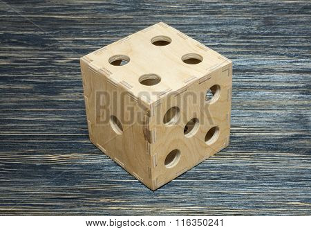 big dice on old wood table. Textere, background