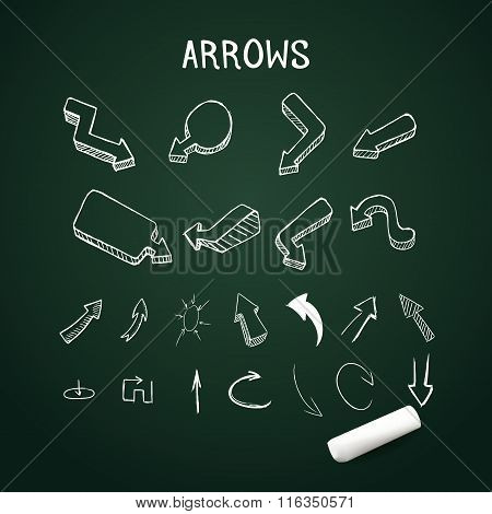 Vector realistic up and down arrows with chalk