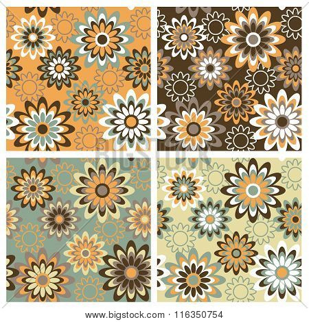 Retro-styled floral pattern in four seasonal colorways repeats seamlessly.