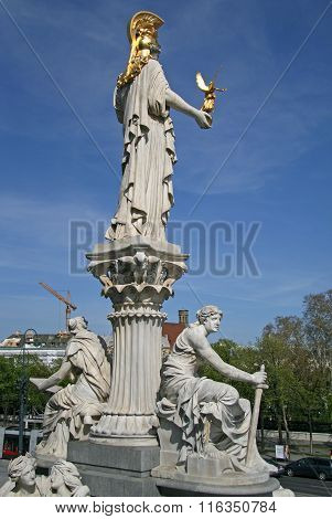 Vienna, Austria - April 22, 2010: Statue Of Pallas Athena, Goddess Of Wisdom, Standing In Front Of T