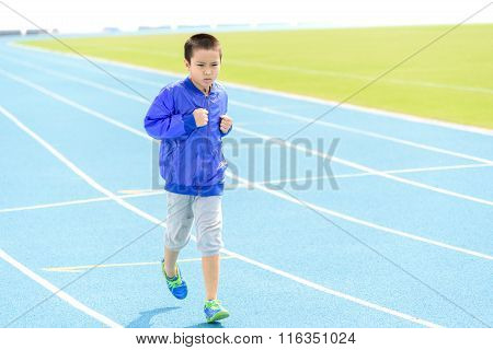 Boy Run In Blue Track