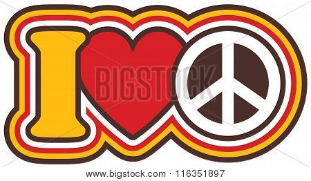 I Heart Peace icon design in red, yellow, black and white.