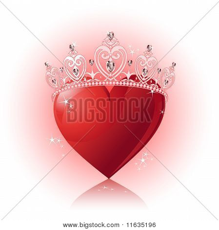 Crystal Heart With  Crown