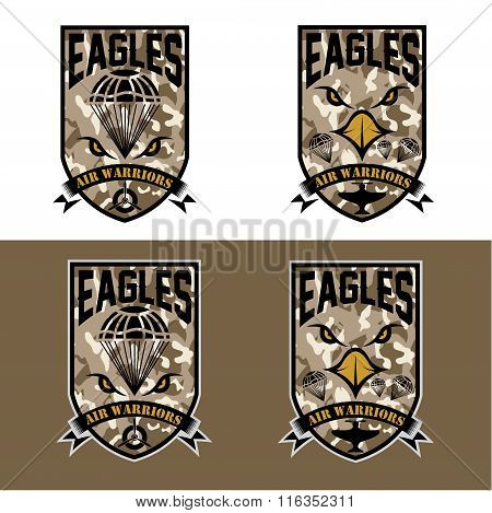 Eagles Air Warrriors Army Shields Set Vector Design Template