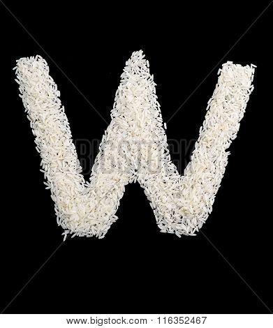 White Rice Grain Alphabet Letter w