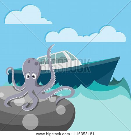Octopus in the sea waiting for a boat