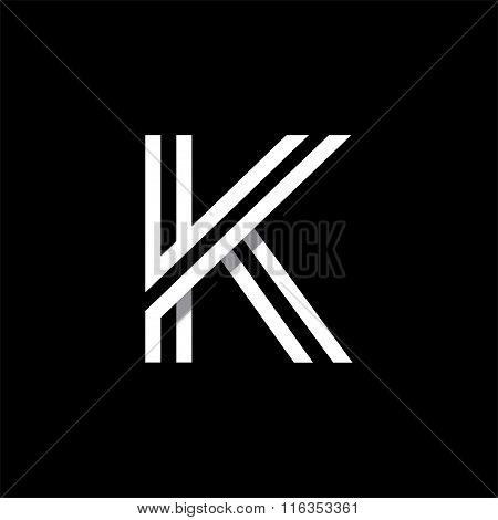 Capital letter K. Overlapping with shadows logo, monogram trendy design.