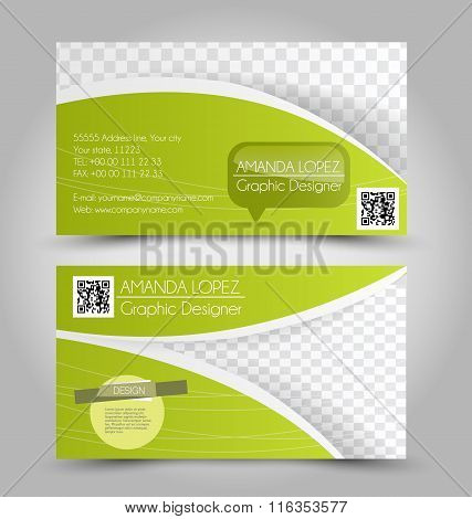 Business Card Design Set Template For Company Corporate Style. Green Color. Vector Illustration.